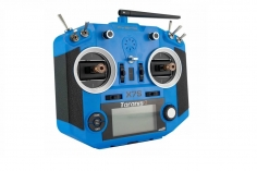 FrSky Taranis Q X7S Sender in blau mit englischer Menüführung, M7 Gimbals, Akku, Ladegerät, EVA-Bag