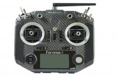 FRSky Taranis Q X7S Sender in carbon Optik mit M7 Gimbals, Akku, Ladegerät, EVA-Bag