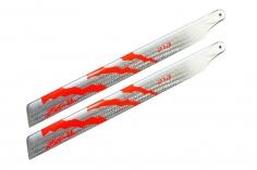 ZEAL Carbon Hauptrotorblätter 210mm in silber und neon orange