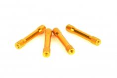 Abstandshalter M3 aus Alu in Bone Form in gold 4 Stück 35mm
