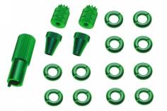Schaltermuttern Set mit Stick´s und Werkzeug aus Alu eloxiert in grün