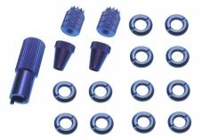 Schaltermuttern Set mit Stick´s und Werkzeug aus Alu eloxiert in blau