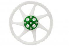 Rakonheli Hauptzahnrad aus Delrin 140 Zähne mit Alu Nabe in grün für Blade 250CFX