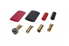 Antiblitz Goldverbinder 5,5mm mit Ring Stecker und Buchse