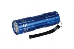 LED Taschenlampe mit hellen 9 LED´s aus Aluminium und mit Handschlaufe