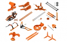 Rakonheli Tuning Set aus CNC Aluminium in orange für den Blade 230 S und 230 S V2