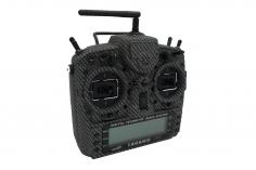 FrSky Taranis X9D Plus Sender 2,4GHz in Mode 2 mit englischer Menüführung, Steele Special-Edition mit Senderständer, Griffmulden und Softcase im Carbon-Fiber Design