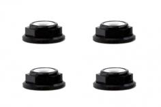M5 Stoppmutter Extra Flach aus Alu mit Flansch in schwarz eloxiert je 2xCW und 2xCCW