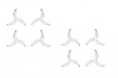 AZURE POWER RACE 3Blatt Propeller 2540 2,5x4x3 Zoll 4xCW + 4xCCW mit 1,5mm Aufnahme 3Punkt Montagein spezial transparent