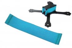 FPV Racing Framestrap (Gummiband mit Laschen für M3 Standoff/Abstandshalter) 160x35mm in hell blau