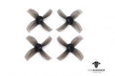 TBS Micro brushless 4 Blatt Propeller Set 40mm 2xCW 2xCCW für 1mm Welle in transparent schwarz