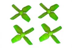 HQ Micro Whoop Vierblatt Propeller 1,2x1,2x4 (31mm) je 2 Stück CW und CCW für 0,8mm Welle in grün