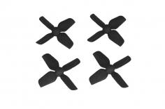 HQ Micro Whoop Vierblatt Propeller 1,2x1,3x4 (31mm) je 2 Stück CW und CCW für 1mm Welle in schwarz