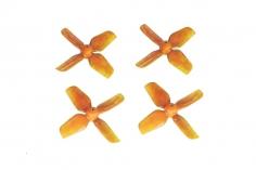 HQ Micro Whoop Vierblatt Propeller 1,6x1,6x4 (40mm) je 2 Stück CW und CCW für 1,5mm Welle in orange