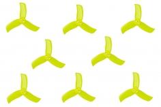 Gemfan Hulkie 3 Blatt Propeller 2 Zoll 2040 / 2X4X3 für 1,5mm Welle je 4x CW und 4x CCW in gelb transparent