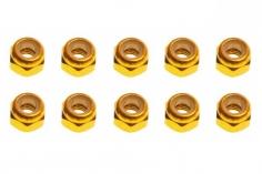 M3 Stoppmutter aus Alu in gelb eloxiert CW 10 Stück