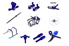 Rakonheli Tuning Set aus CNC Aluminium in blau für den Blade Nano S2