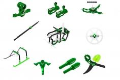 Rakonheli Tuning Set aus CNC Aluminium in grün für den Blade Nano S2
