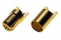 Goldkontaktstecker 6,5mm geschlitzt mit Löthalbschale 1Paar