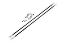 Rakonheli Heckstreben Carbon/Alu in silber für Blade 150 S