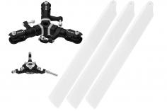Rakonheli 3 Blattrotorkopf Set aus Alu in schwarz für Blade 150 S
