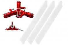 Rakonheli 3 Blattrotorkopf Set aus Alu in rot für Blade 150 S