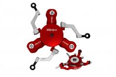 Rakonheli 3 Blatt Rotorkopf Set aus Alu in rot für Blade mCPX BL2
