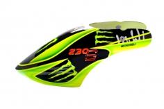 Microheli Fiberglas Haube Green Monster  im grün schwarzem  Design für den Blade 230 S und 230S V2