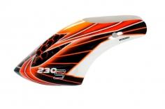 Microheli Fiberglas Haube Orange Laser im rot schwarzem  Design für den Blade 230 S und 230S V2