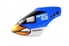 Microheli Fiberglas Haube Blue Angry Bird im blauem Design für den Blade Nano S2