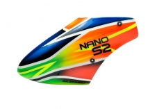 Microheli Fiberglas Haube Green Exoct im orange blau grünem Design für den Blade Nano S2