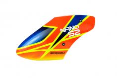 Microheli Fiberglas Haube X-Pro im orange blauen Design für den Blade Nano S2