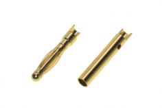 Goldkontaktstecker 2,0mm gefedert mit Löthalbschale 1 Paar