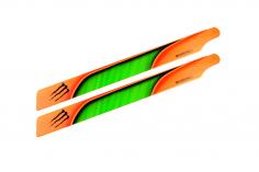 Microheli Kunststoff Hauptrotorblätter im orang grünem Monster Design 240mm für Blade 230 S, 230 S V2