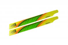 Microheli Kunststoff Hauptrotorblätter im gelb grünem Monster Design 240mm für Blade 230 S, 230 S V2