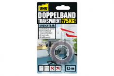UHU Doppelband Transparent, bis zu 75Kg 1,5m x 19mm
