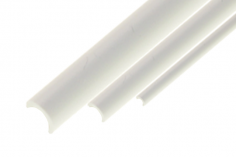 Kunststoffhalbrohr aua ASA AussenØ 6,0mm x InnenØ 5,0mm in weiß 1 Meter