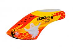 Microheli Fiberglas Haube Wicked Ghost im orange rot gelbem Design für den Blade 230 S und 230S V2