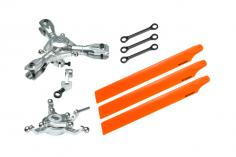 Microheli Tuning 3-Blatt Hauptrotorkopf Set in silber mit Hauptrotorblättern in orange für Blade 230S und 230S V2