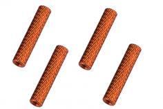 Abstandshalter / Spacer / Standoff M3 Aluminium eloxiert gerändelt in orange 4Stück 50mm
