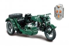 CaDa Klemmbausteine - Militär Motorrad - RC Set RTR mit Fernsteuerung und Antriebsset - 629 Teile
