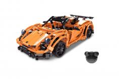 CaDa Klemmbausteine - Renn Auto kleines Chassis in orange - RC Set RTR mit Fernsteuerung und Antriebsset bestehend aus 421 Teilen