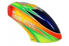 Microheli Fiberglas Haube Parrot in orange grünem Design für den Align T-REX 470L