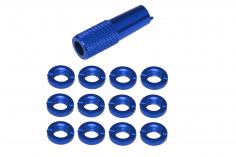 Schaltermuttern Set aus Aluminium mit Werkzeug in blau