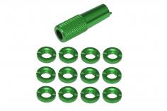 Schaltermuttern Set aus Aluminium mit Werkzeug in grün