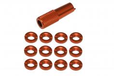 Schaltermuttern Set aus Aluminium mit Werkzeug in orange