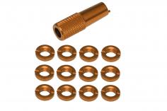 Schaltermuttern Set aus Aluminium mit Werkzeug in gold