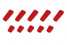 Schalterabdeckung eckig aus Soft Silikon in rot 10Stück, je 5x groß und 5x klein