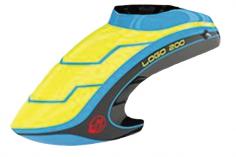 Mikado Haube neon-gelb/blau/schwarz, LOGO 200