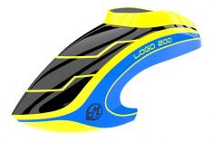 Mikado Haube LOGO 200 schwarz/neon-gelb/blau